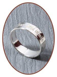 JB Memorials Sterling Zilveren Tekst Gedenk Ring 5mm - RB066