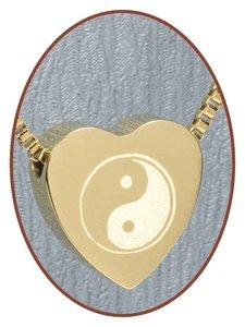 Edelstalen/RVS 'Yin-Yang' Hart Ashanger Goudkleur - G304G