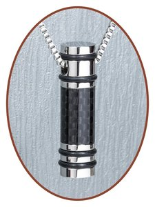 Edelstalen/RVS JB Memorials Carbon Fibre Ashanger / Sleutelhanger - B346
