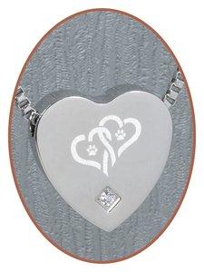 Edelstalen/RVS 'Dubbel hart/Poot' Hart Ashanger - B304CZ-X2