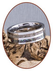 JB Memorials Exclusive Natureline Abalone Shell Tungsten As Ring - WR008