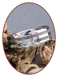 JB Memorials Exclusive Natureline Abalone Shell Tungsten Facet As Ring - WR009