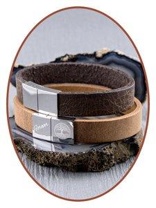 JB Memorials Edelstalen RVS / Leren Graveer (As) Armband met vulschroef - ZAS014