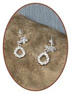 925 Sterling Zilveren dames zirconia as oorsieraden  - EBB32