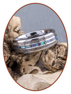 JB Memorials Exclusive Natureline Abalone Shell Tungsten Duo As Ring - WR007