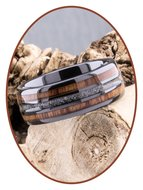 JB Memorials Exclusive Natureline Wood Black Ceramic Zirconium As Ring - WR013A