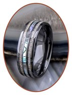 JB Memorials Exclusive Natureline Abalone Shell Ceramic Zirkonium Duo As Ring - WR013D
